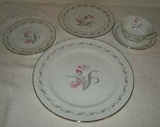 Japan China Elaine Six Dinner Plates, Pink Flowers with Gray Leaves