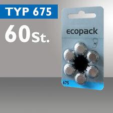 60 x Ecopack Batterie Bottone Apparecchio Acustico Tipo 675 PR44 ZL1