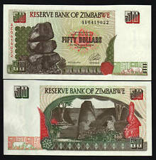 ZIMBABWE 50 DOLLARS P-8 1994 *AE REPLACEMENT RHINO CEROS UNC CURRENCY MONEY NOTE