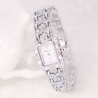 Damen Armbanduhr Edelstahl Silber Kristall Zifferblatt Quarz Uhr JwTPi eNwrg