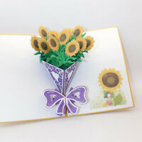 Sunflower Bouquet Greeting Card Blank Paper Card Festival Invitations Postcard J