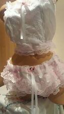 NEW*White Satin & Pink Lacy Training Bra & Matching RUMBA Pantie Set Sissy CD TV