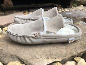 EMU Ridge Australia Womens Beige Suede Shearling Slippers Shoe Sz 8-9