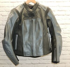 MQP - Ladies Black & Grey Leather Motorcycle Jacket- 42 -Size M - Thames Hospice