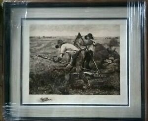 The Mowers Antique Etching by Julien Dupre 1880 Newly Framed & Mounted ColwynBay