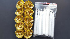 10 Metal Gold Clip On Candle Holders & 10 White Spiral Candles Christmas Tree