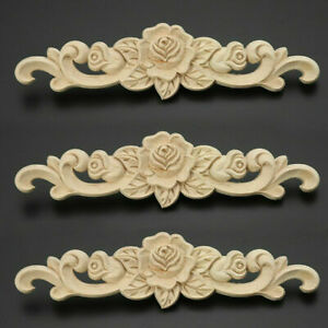 2Pcs Wooden Carved Applique Furniture Unpainted Mouldings Decal Onlay Home Decor