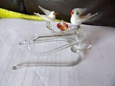 Vintage estatuilla de cristal de Murano Par de pájaro en un árbol con una chica en el nido