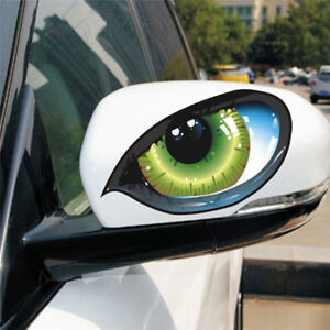 1 Pair Cool 3D Mysterious Cat Eyes Car Sticker Green Evil Window Mirror Decal MB