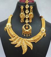 22K Gold überzogene indische Hochzeit 8 '' lange Halskette Ohrringe Set j
