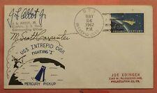 1962 ASTRONAUT SCOTT CARPENTER + JAMES ABBOT JR SIGNED NAVAL USS INTREPID SHIP
