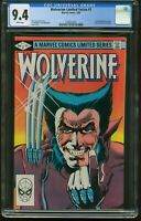 WOLVERINE 1 LIMITED SERIES SEP 1982 CGC-GRADED 9.4 NEAR MINT WHITE PAGES G-223