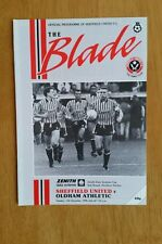 1990/91 Sheffield United v Oldham Athletic-ZDS Cup-Excellent état