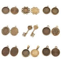 50pcs Vintage Alloy Pendant Cabochon Settings Antique Bronze Glass Bead DIY Tray