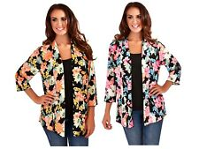 Womens Lightweight Open Kimono Jacket Ladies Floral Summer Shirt Blouse Size