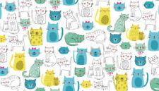 Makower kitty cats turquoise,white, 100% cotton fabric, fat quarter, free p&p,