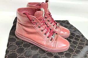 Gucci Soft Patent Leather High Top Sneakers Women's 36
