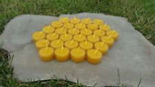 30 Hand Poured Beeswax Tealight Candles, All-natural Cotton Wick, Clear Cups