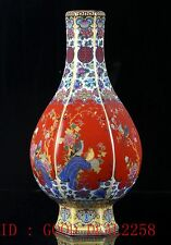 Chinese Cloisonne Hand-Painted Bird&Flower Vase W Yongzheng Mark CQFL14