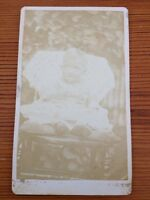 Antique Sepia Baby Toddler Child Afghan Blanket Chair Faded Cabinet Photograph