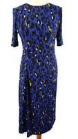 Per Una M&S Size 10 Blue Black Leopard Print Ruched Short Sleeve Midi Dress