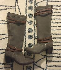 FRYE Jane Grey Suede & Brown Leather straps Womens Strappy TALL BOOTS 6 $468