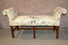 Vintage Chippendale Style Bench w/Rolled Arms & Mahogany Stretcher Base