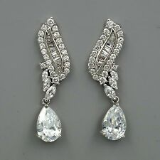 Platinum Plated Cubic Zirconia CZ Wedding Bridal Dangle Drop earrings 03971