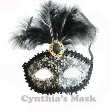 Black Venetian Masquerade Mask w/Feathers  BZ632B for Party & Display