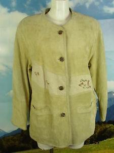 mit Stickerei und Leinen abgesetzt fesche Lederjacke Janker Trachten Jacke Gr.42