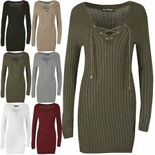 Womens Ladies Eyelet Lace Up V Neck Long Sleeve Ribbed Knit Bodycon Mini Dress