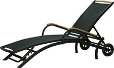 Sdraio con ruote lettino solare DIPLOMAT regolabile nero teak Mobili da Giardino