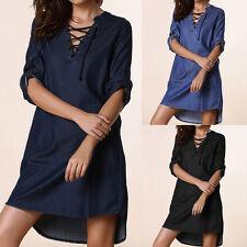 34-48 ZANZEA Damen Lace-up V Neck Denim Blau Asymmetrisch Shirt Mini Dress