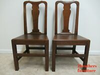 Pair Antique Tiger Oak Dining Room Side Chairs Primitive Chippendale Primitive A