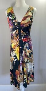 Moss & Spy - Black / Red / Yellow Floral Dress - Size 14 - Preowned