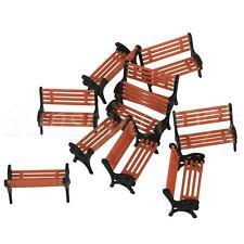 More details for 10x benches platform park diorama scenery layout black orange color 1:75