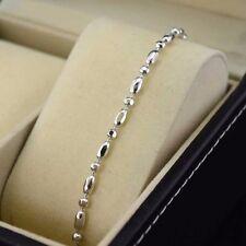 "18k White Gold Filled Rice Beads Bracelet 8.6""Chain Link Dangle GF Women Jewelry"