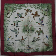 "Auth HERMES ""Halte En Camargue""  by Robert Dallet Red Silk Scarf 3210"