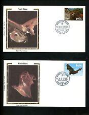 Postal History US Palau FDC #122-125 SET OF 4 Fruit Bats 1987 Colorano Silk