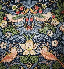 William Morris Strawberry Thief Indigo/Mineral Curtain Fabric Sold Per Mtr