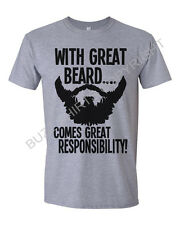 With Great Beard Comes Great Responsibility Mens T-Shirt Movember Funny
