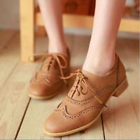 Women England brogues Lace Up Wing Tip Oxford College Round Toe Flat heels Shoes