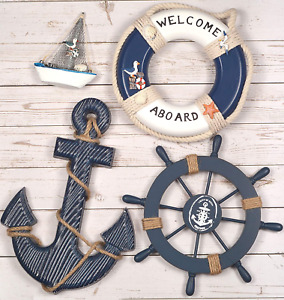 Wooden Nautical Lighthouse Anchor Wall Hanging Ornament, Beach Wooden Boat Ship