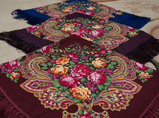 Floral Russian shawl chale russe, Royal shawl Fringed Scarf foulard russe Mantón