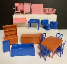 17 Vtg Mid-Century Plastic DOLL HOUSE FURNITURE~Pink Blue Brown~Nursery 1960's