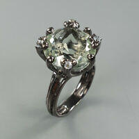 Natural Green Amethyst 925 Sterling Silver Ring Size 7/RS18-0024