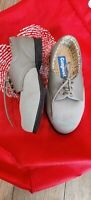 Women's Ladies COSYFEET Shoes Size 4 Wide Fit Beige/Light Grey Flats Lace Up