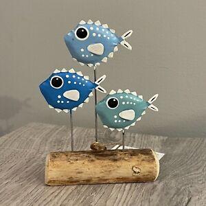School of blue puffer fish standing ornament by shoeless joe. Sea life nautical