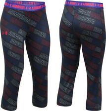 NEW GIRLS UA UNDER ARMOUR GRAPHIC CAPRI Leggings SMALL BLACK Red White Fitted