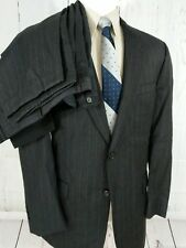 Jos A Bank Mens Pinstripe Suit 42L 38x30 Pleated Cuffed 2 Button Wool Black